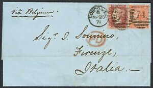 1871 London-Florence 1d Red Perf Plate CH 4d Vermilion Pl 12 LL Duplex Red 'PD'