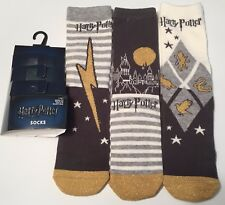 PRIMARK LADIES HARRY POTTER HOGWARTS GREY 3 PACK SOCKS - UK 4-8 - Brand New