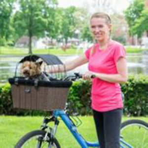 Travelin K9 Pet-Pilot Wicker MAX – Dog Bike Basket with Sun Shade