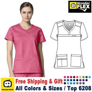 WonderWink Scrubs FLEX Women's Curved Notch Neck Top 6208