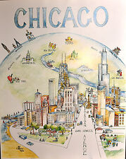"Chicago Center Of The Universe Pat Coffman Huss 24"" x 30"" vintage fine art print"