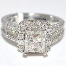 Certified 2.75Ct Princess Cut Diamond Engagement Wedding Ring in 14K White Gold