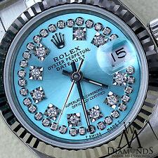 Ice Blue Rolex 26mm Datejust String Diamond Face Stainless Steel Jubilee Watch