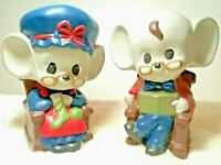 "2 VINTAGE MICE 7.5"" ☆ 1979 CERAMIC COLLECTIBLE☆ ANIMAL FIGURINES HANDPAINTED USA"