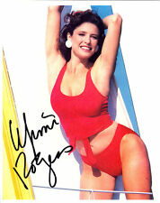 MIMI ROGERS, ACTRESS PLAYBOY AUTOGRAPHED SIGNED 8X10 PHOTO IN RED WITH COA