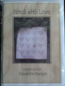 Stitch with Love Redwork Quilt pattern Craft, Sewing Pattern by Mandy Shaw