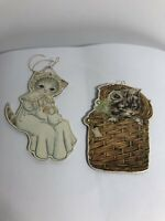 Kitty Cucumber Vintage Paperboard Ornaments 1985 Baby Basket Set Of 2 Victorian