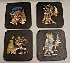 4 Aztec Mexico Wood & Enamel Wall Hanging Gods February, April, May, October