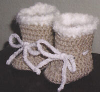 Crochet Pattern ~ BABY FLEECE BOOTS Booties ~ Instructions