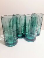 Vintage Anchor Hocking Set of 4 Tartan Plaid Green Drinking Glasses Heavy 16oz