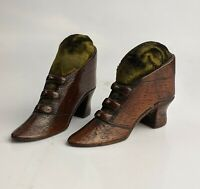 Antique Pair of Carved Wood Shoe Boot Pin Cushions c19th Georgian Victorian