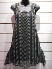 Mini Dress 2X Plus Long Tunic Tank Top Black Blue Geo Chiffon Lined A Shape DC14
