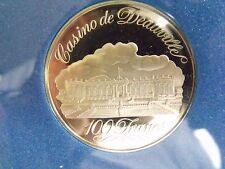 CASION DE DEAUVILLE FRANCE FRANKLIN MINT SILVER 100 FRANCS GAMING TOKEN MINT