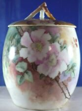 "Antique Limoges France Handpainted Biscuit Jar Large Flowers, 8"" Tall Exc $20"