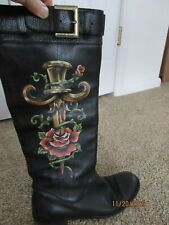 ISABELLA FIORE ED HARDY DAGGER ROSE TALL BLACK LEATHER MOTO BOOTS 8.5