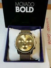 MOVADO BOLD 3600372 Gold Stainless Steel Chronograph Mesh Bracelet 44mm Watch