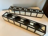 Pair of MCM mirrored Box multiple Candle holders 4 votives or 6 tapers mantel