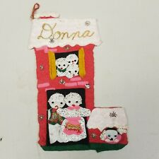"Vintage ""Donna"" Felt Christmas Stocking Handmade Snowman, Sequins Glitter"