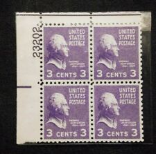 US Stamps #807 ~ 1938 PRESIDENTIAL SERIES - JEFFERSON 3c Plate Block MNH