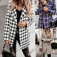 Women Plaid Check Tartan Blazer Suit Ladies Winter Duster Coat Jacket Outwear US