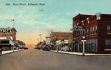 Kalispell Montana Main Street Scene Store Fronts Antique Postcard K19164