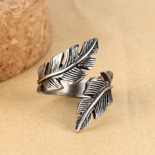 Men Women Antique Silver Stainless Steel Feather Ring Band Fashion Jewelry Gift