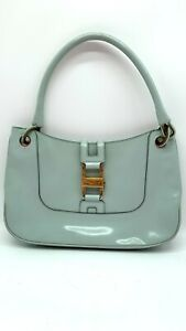 Vintage Gucci Teal Patent Leather Handbag Purse Great condition