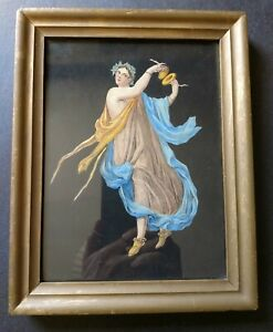 Small framed 19th century colored lithograph of Classical Herculaneum dancer