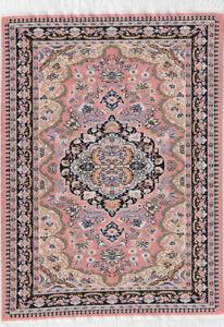 "1/12TH  DOLLS HOUSE TURKISH WOVEN CARPET 12½""(31cm) x 8""(20cm) PINK/MULTI"