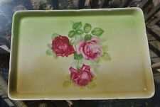 Vtg Hand Painted with Roses Square Green Tray  Mark H Austria