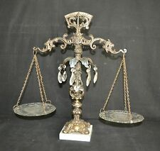 ThriftCHI ~ Decorative Scales of Justice Ornate Metal On Marble Base Glass Plate