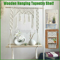 Macrame Knitted Rope Woven Tassel Wallhanging Handmade Tapestry Shelf Home