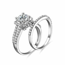 14K White Gold Over 925 Silver Round Diamond Wedding Set Bridal Engagement Ring