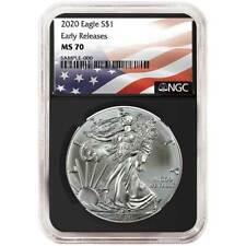 2020 $1 American Silver Eagle NGC MS70 Flag ER Label Retro Core