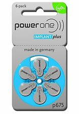 60 Powerone Mercury Free Hearing Aid Batteries Size: 675P Cochlear Implant