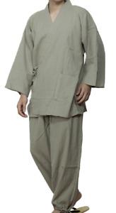 Japanisch Samue Herren Traditionell Arbeitskleidung Yoryu Cotton Kimono Grün Von