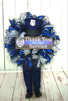 POLICE OFFICER POLICEMAN DECO MESH WREATH