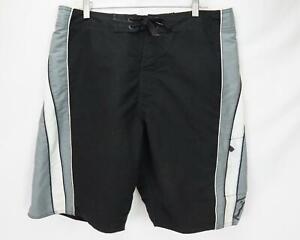 Quiksilver Edition Swim Board Shorts Black/White/Gray Men's Waist 36