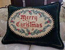Vintage Merry Christmas Velvet Pillow Luxury Crewel Embroidery 18K Gold Thread