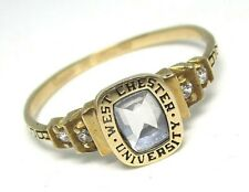 West Chester University 10K Yellow Gold Aqua Ring 3.43 grams  size 13 BS 97