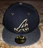 ERA MLB Atlanta Braves Navy Blue Grey Gold Fitted Baseball Cap Hat NEW 7 7 1/8