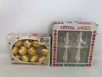 VTG Christmas Ornaments Shiny Brite Gold Unbreakable Mini Crystal Angels GUC
