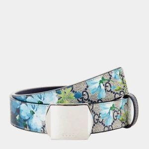 Gucci Men's/Unisex Blue Bloom Print Belt w/Silver Buckle 546375 8499