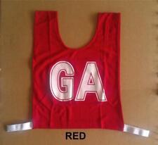 Netball Bibs - Brand New - Mock Mesh - Junior Size - Red / White letters