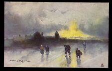 Winter Sunset artist drawn Prof Van Hier Tuck 2575 Vintage PPC