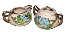 Hull Pottery Magnolia Blue Covered Sugar Creamer Gold Trim Vintage Rare 1940s