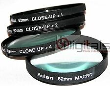 62mm +1 +2 +4 & MACRO +10 CLOSEUP LENS FILTER SET KIT