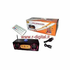 STEREO HIFI RADIO PORTATILE RICARICABILE LETTORE CARD SD USB MP3 CASSE PC