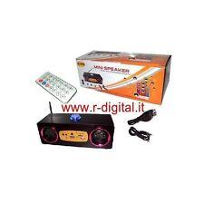 STEREO HIFI RADIO PORTATILE RICARICABILE LETTORE CARD SD USB MP3 CASSE PC