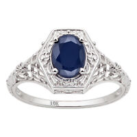 10k White Gold Vintage Style Genuine Oval Sapphire Filigree Ring